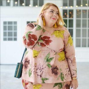Melissa McCarthy Seven7 Pink Floral  Peplum Top 3X
